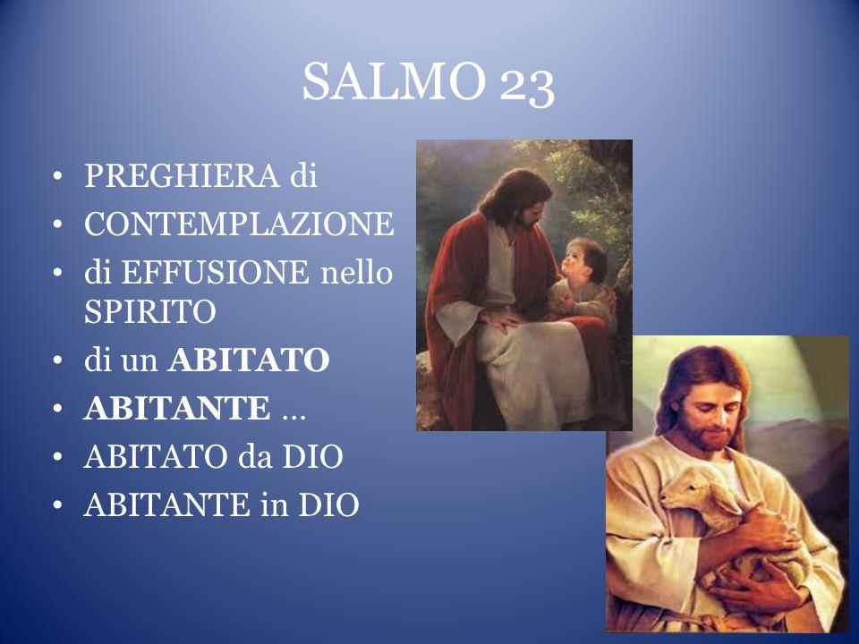 SALMO 23 PREGHIERA di CONTEMPLAZIONE di EFFUSIONE nello SPIRITO di un ABITATO ABITANTE … ABITATO da DIO ABITANTE in DIO