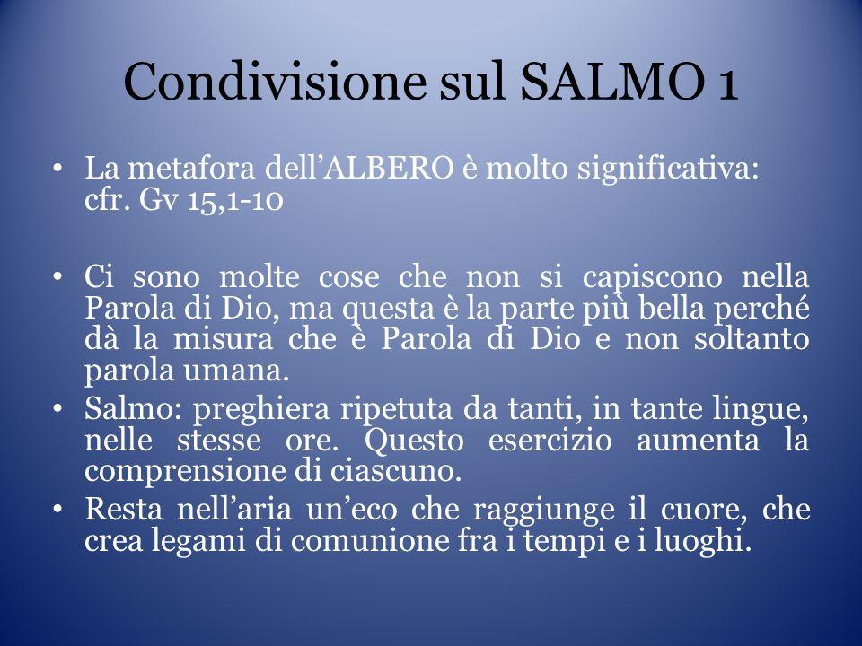 Condivisione sul SALMO 1 La metafora dellALBERO è molto significativa: cfr. Gv 15,1-10 Ci sono molte cose che non si capiscono nella Parola di Dio, ma