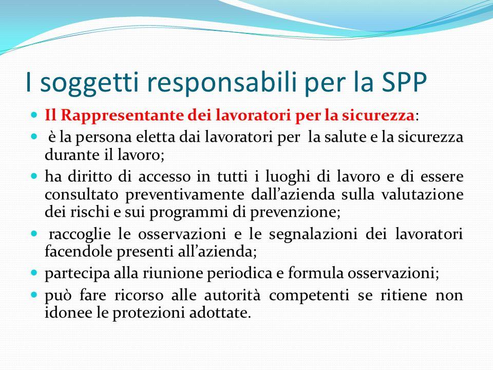I soggetti responsabili per la SPP Il Rappresentante dei lavoratori per la sicurezza: è la persona eletta dai lavoratori per la salute e la sicurezza