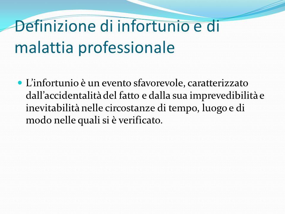 Definizione di infortunio e di malattia professionale Linfortunio è un evento sfavorevole, caratterizzato dallaccidentalità del fatto e dalla sua impr