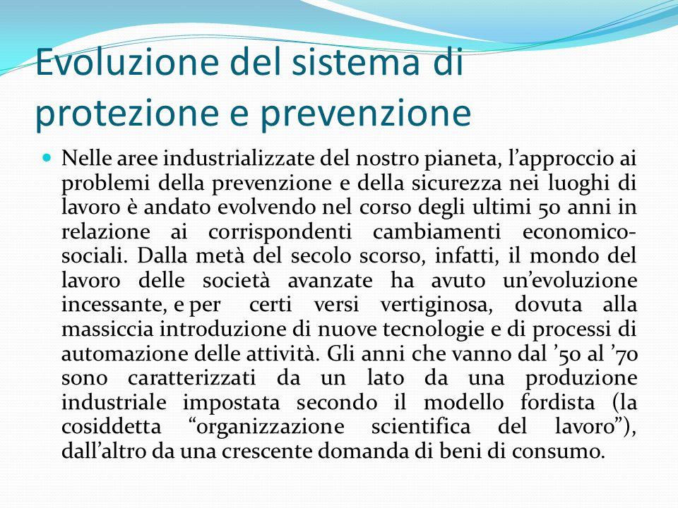Evoluzione del sistema di protezione e prevenzione Sono gli anni in cui si diffonde un livello di prosperità senza precedenti, grazie ad una congiuntura economica favorevole e allo sviluppo della produzione in serie per i mercati di massa.