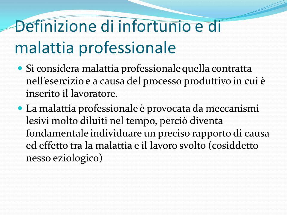 Definizione di infortunio e di malattia professionale Si considera malattia professionale quella contratta nellesercizio e a causa del processo produt