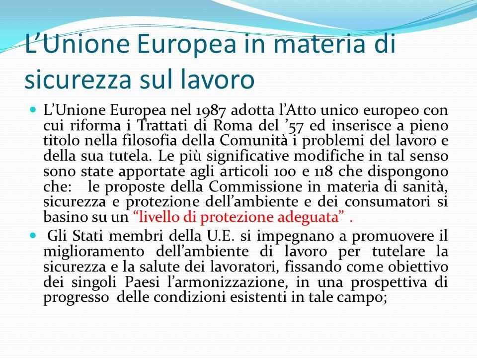 LUnione Europea in materia di sicurezza sul lavoro LUnione Europea nel 1987 adotta lAtto unico europeo con cui riforma i Trattati di Roma del 57 ed in