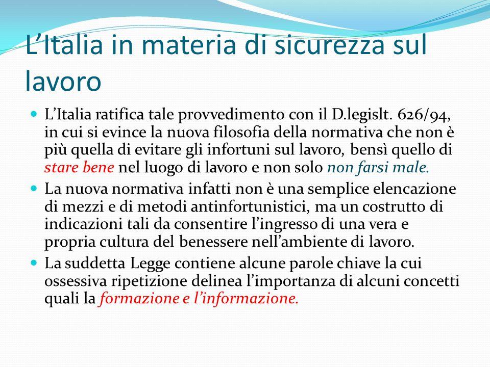 LItalia in materia di sicurezza sul lavoro LItalia ratifica tale provvedimento con il D.legislt. 626/94, in cui si evince la nuova filosofia della nor