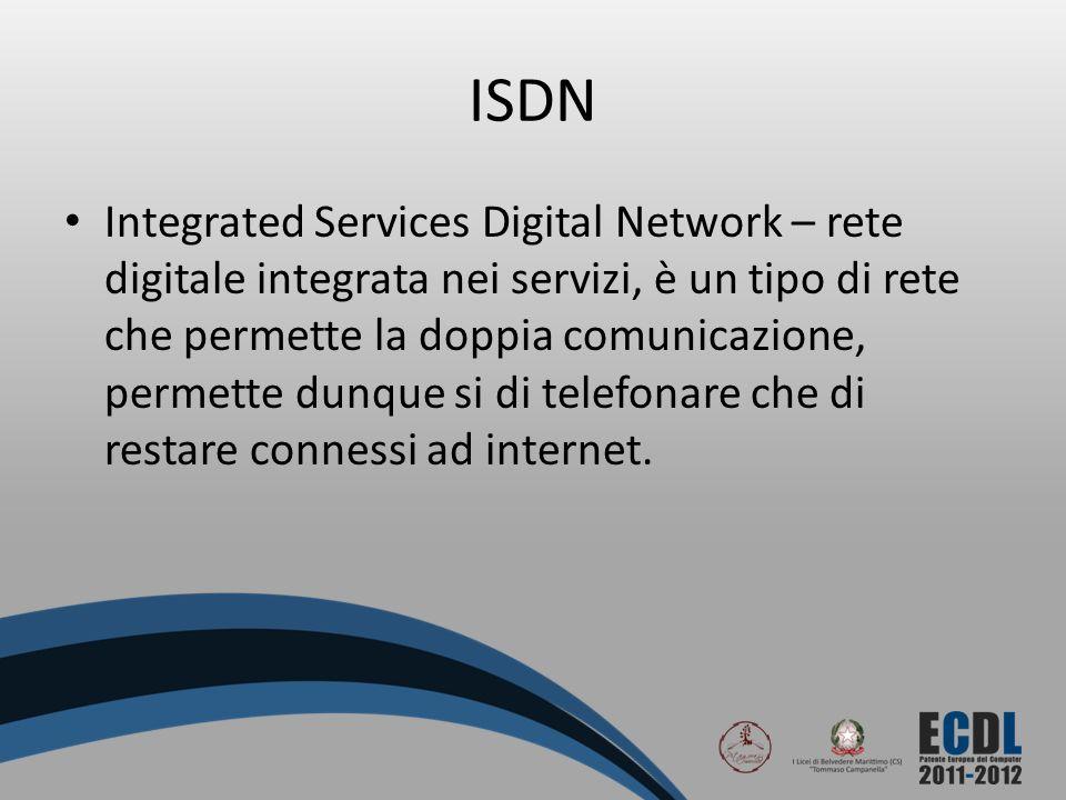 ISDN Integrated Services Digital Network – rete digitale integrata nei servizi, è un tipo di rete che permette la doppia comunicazione, permette dunqu