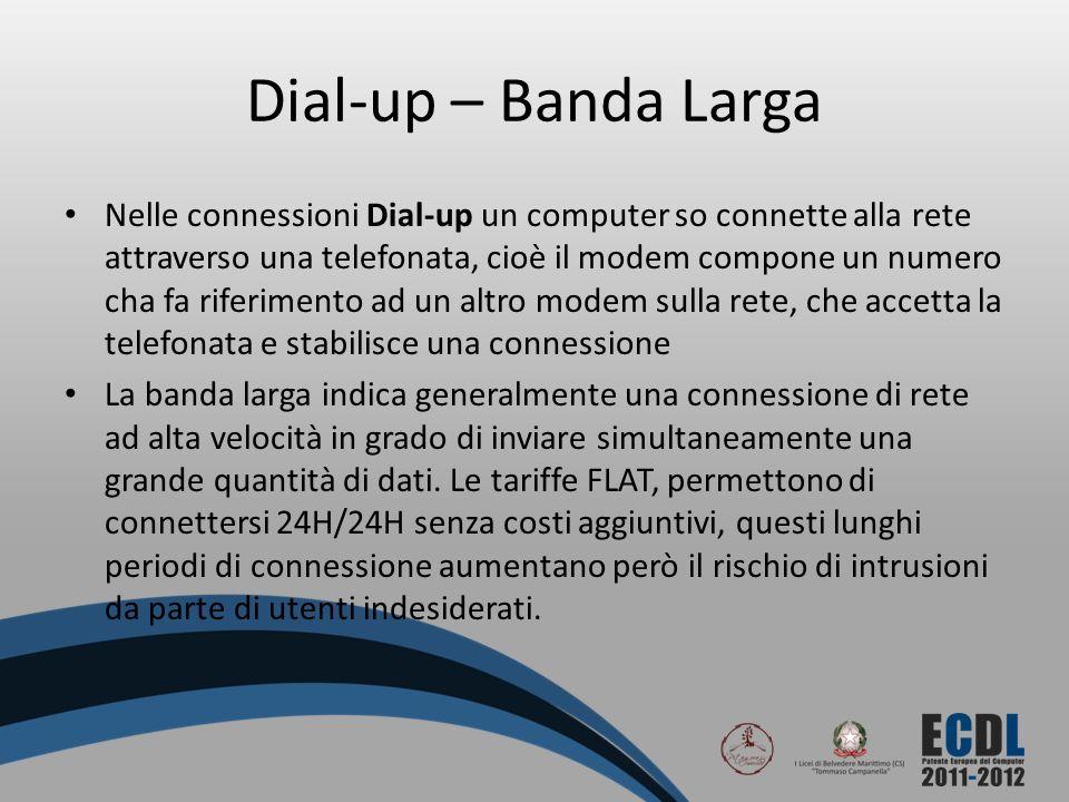 Dial-up – Banda Larga Nelle connessioni Dial-up un computer so connette alla rete attraverso una telefonata, cioè il modem compone un numero cha fa ri