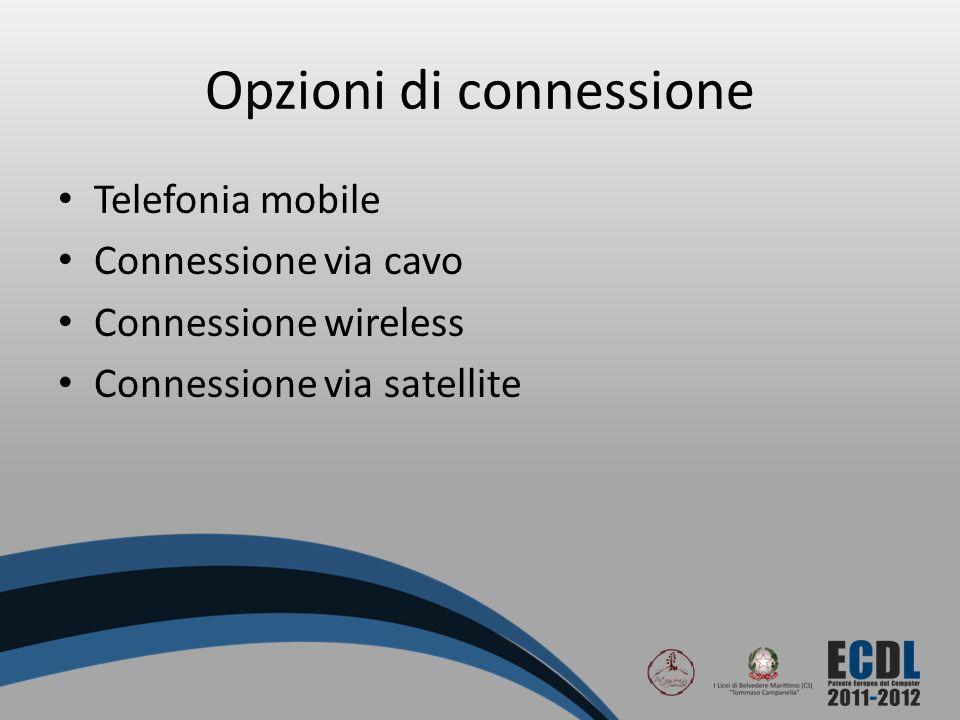 Opzioni di connessione Telefonia mobile Connessione via cavo Connessione wireless Connessione via satellite