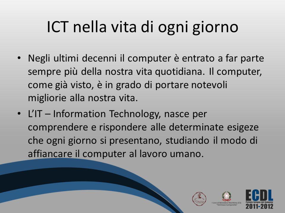 ICT nella vita di ogni giorno Negli ultimi decenni il computer è entrato a far parte sempre più della nostra vita quotidiana. Il computer, come già vi