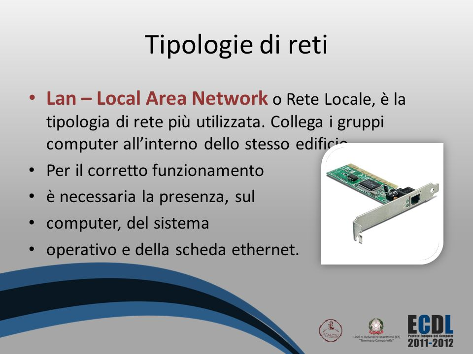 Tipologie di reti Lan – Local Area Network o Rete Locale, è la tipologia di rete più utilizzata. Collega i gruppi computer allinterno dello stesso edi