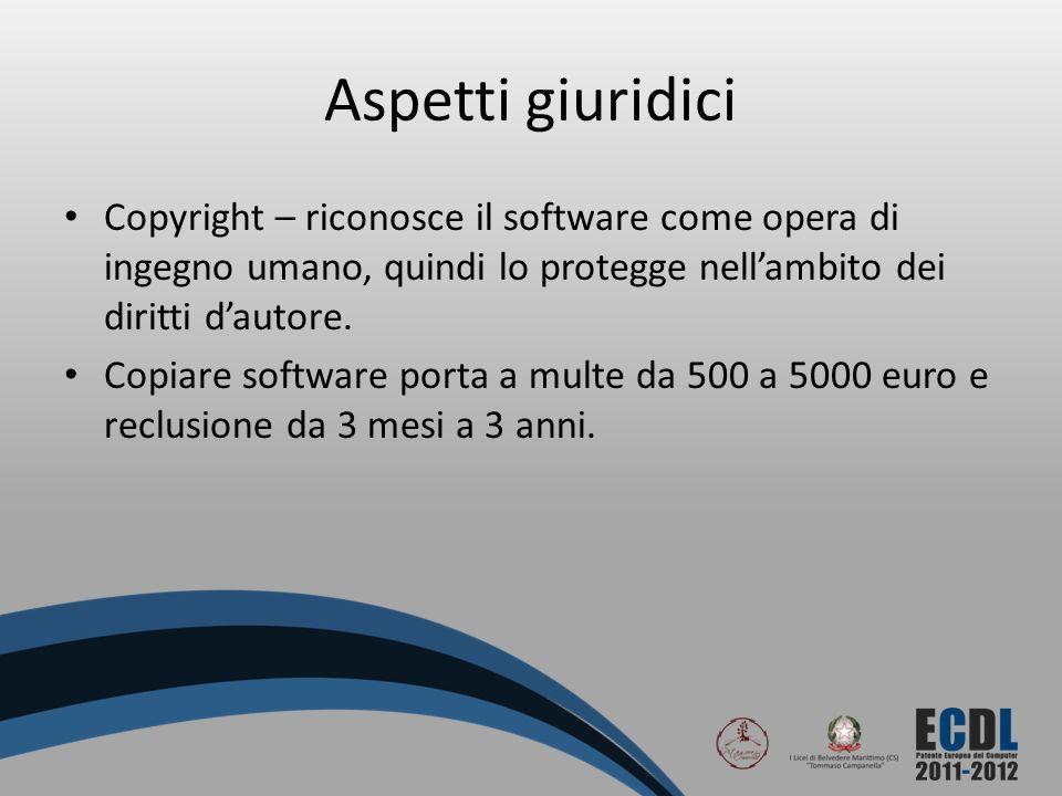 Aspetti giuridici Copyright – riconosce il software come opera di ingegno umano, quindi lo protegge nellambito dei diritti dautore. Copiare software p