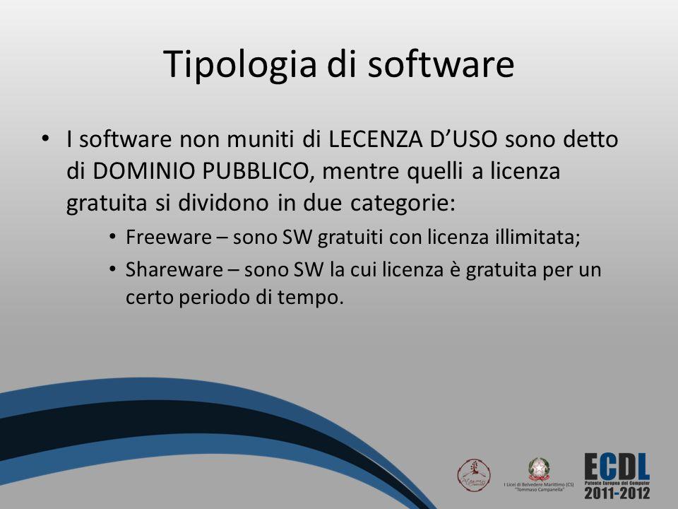 Tipologia di software I software non muniti di LECENZA DUSO sono detto di DOMINIO PUBBLICO, mentre quelli a licenza gratuita si dividono in due catego