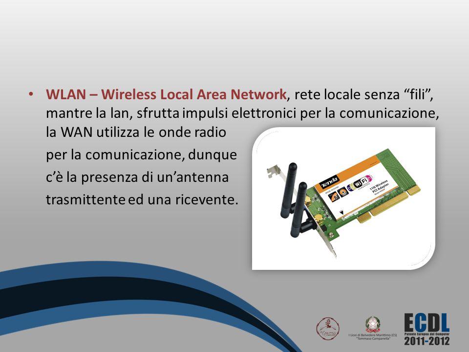WLAN – Wireless Local Area Network, rete locale senza fili, mantre la lan, sfrutta impulsi elettronici per la comunicazione, la WAN utilizza le onde r