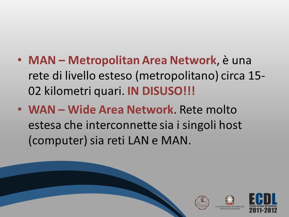 MAN – Metropolitan Area Network, è una rete di livello esteso (metropolitano) circa 15- 02 kilometri quari. IN DISUSO!!! WAN – Wide Area Network. Rete