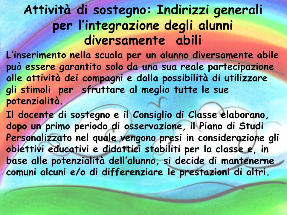 Attività di sostegno: Indirizzi generali per lintegrazione degli alunni diversamente abili Linserimento nella scuola per un alunno diversamente abile
