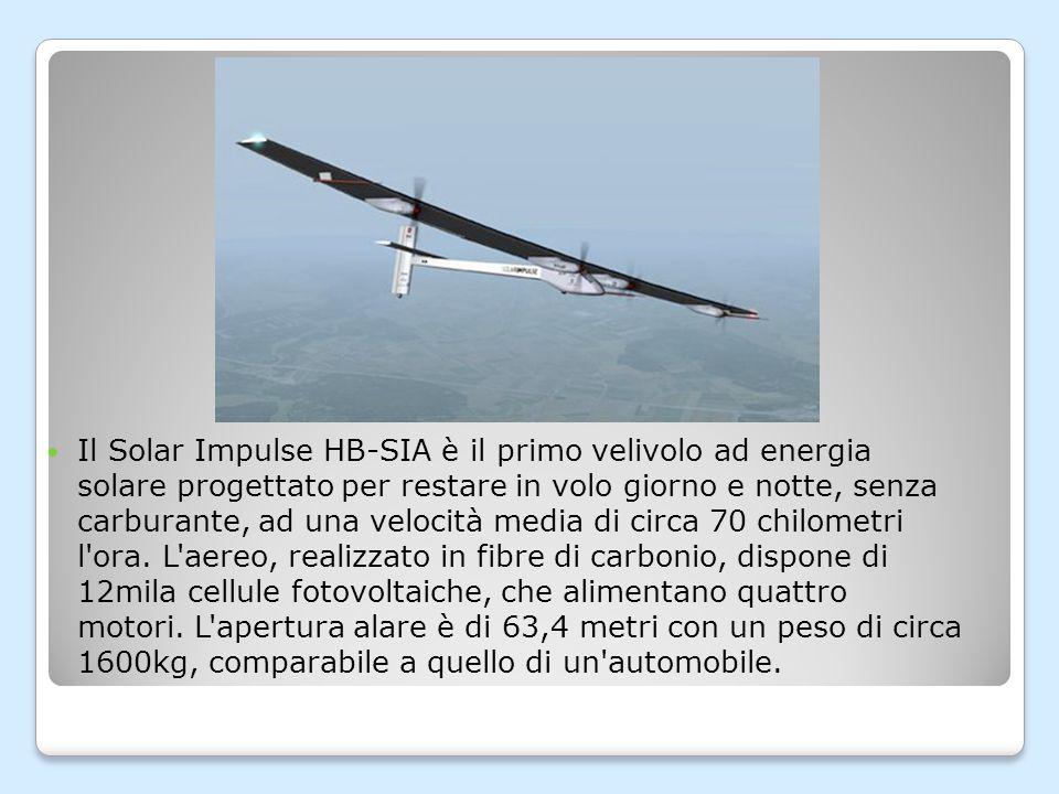 La generazione dell energia occorrente al volo è affidata, durante il giorno, alle celle fotovoltaiche poste sulla superficie superiore dell ala e sulla coda.