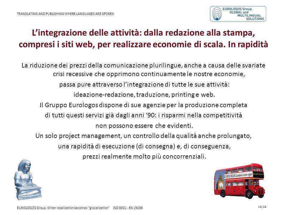 Lintegrazione delle attività: dalla redazione alla stampa, compresi i siti web, per realizzare economie di scala. In rapidità La riduzione dei prezzi