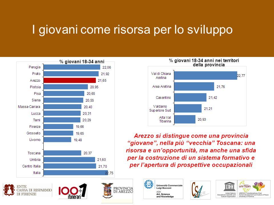 I giovani come risorsa per lo sviluppo % giovani 18-34 anni % giovani 18-34 anni nei territori della provincia Arezzo si distingue come una provincia giovane, nella più vecchia Toscana: una risorsa e unopportunità, ma anche una sfida per la costruzione di un sistema formativo e per lapertura di prospettive occupazionali
