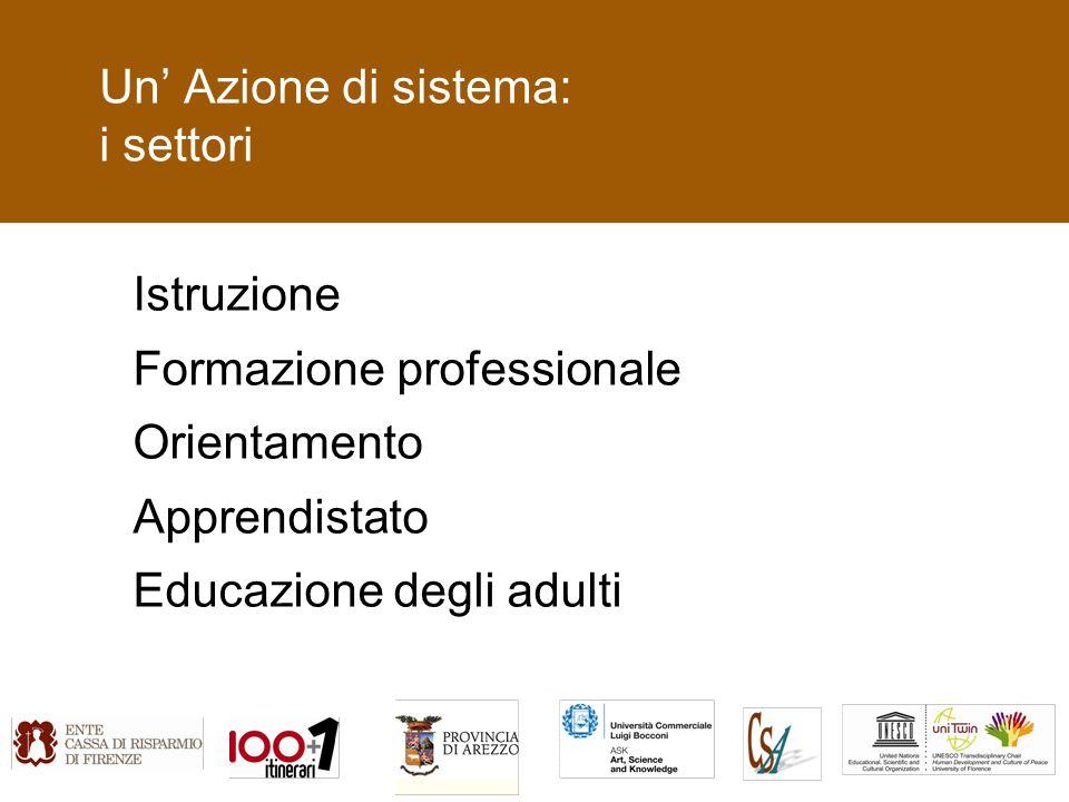 Un Azione di sistema: i settori Istruzione Formazione professionale Orientamento Apprendistato Educazione degli adulti