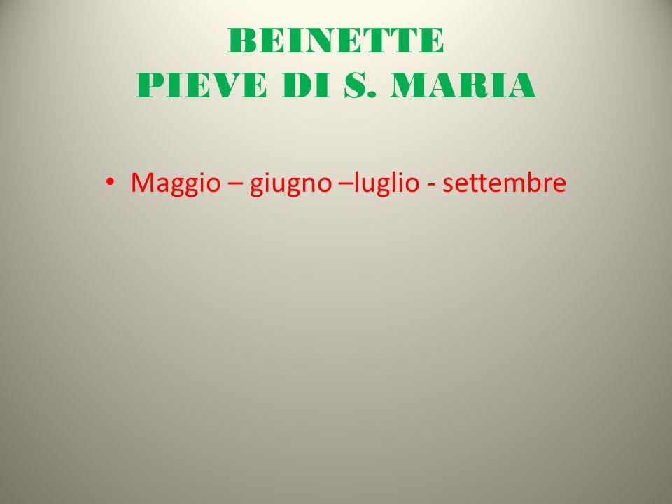 BEINETTE PIEVE DI S. MARIA Maggio – giugno –luglio - settembre