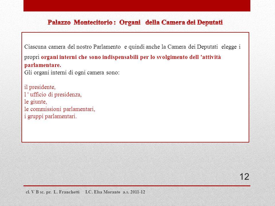 cl. V B sc. pr. L. Franchetti I.C. Elsa Morante a.s. 2011-12 Ciascuna camera del nostro Parlamento e quindi anche la Camera dei Deputati elegge i prop