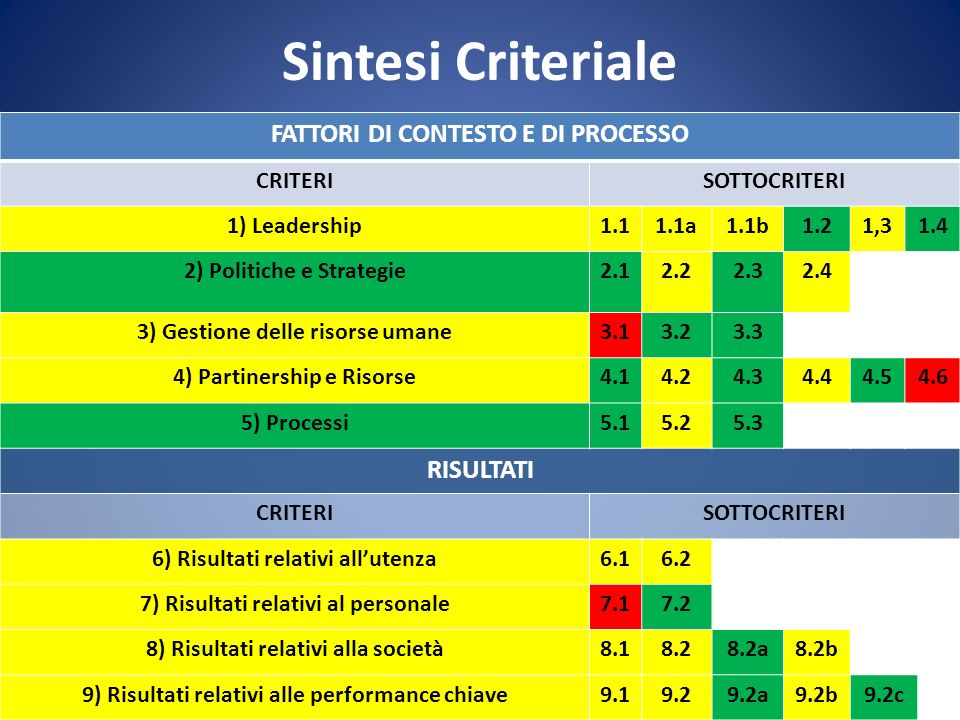 Sintesi Criteriale FATTORI DI CONTESTO E DI PROCESSO CRITERISOTTOCRITERI 1) Leadership1.11.1a1.1b1.21,31.4 2) Politiche e Strategie2.12.22.32.4 3) Gestione delle risorse umane3.13.23.3 4) Partinership e Risorse4.14.24.34.44.54.6 5) Processi5.15.25.3 RISULTATI CRITERISOTTOCRITERI 6) Risultati relativi allutenza6.16.2 7) Risultati relativi al personale7.17.2 8) Risultati relativi alla società8.18.28.2a8.2b 9) Risultati relativi alle performance chiave9.19.29.2a9.2b9.2c