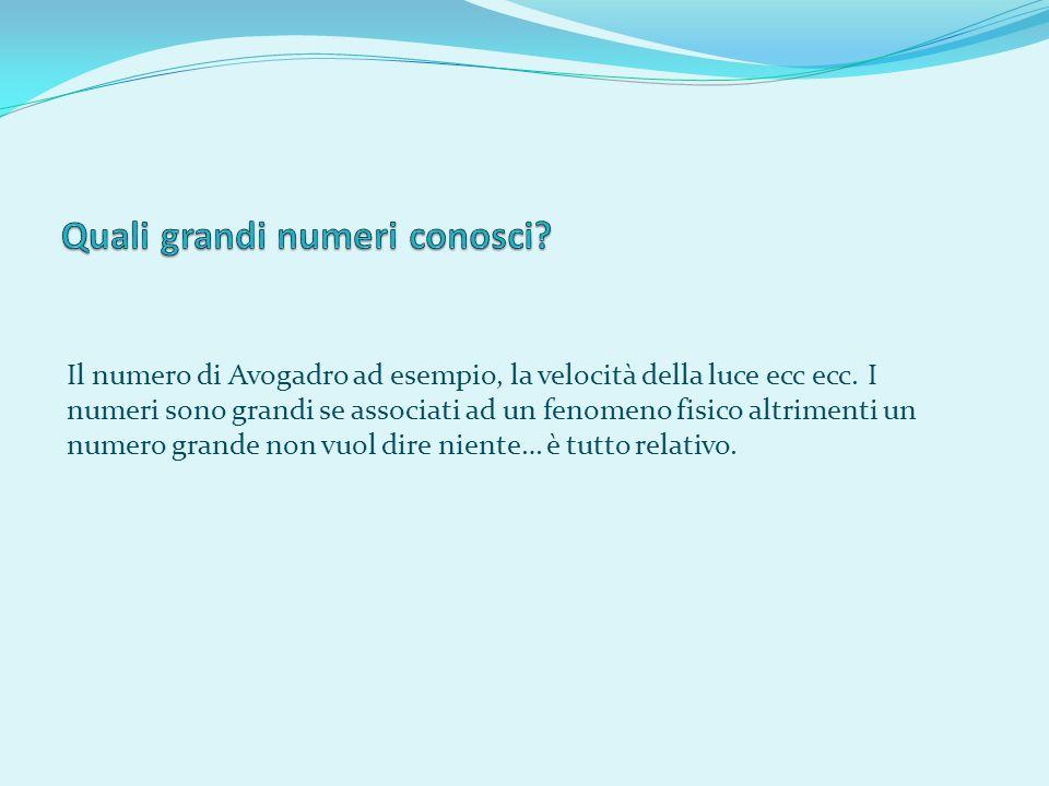 Il numero di Avogadro ad esempio, la velocità della luce ecc ecc. I numeri sono grandi se associati ad un fenomeno fisico altrimenti un numero grande