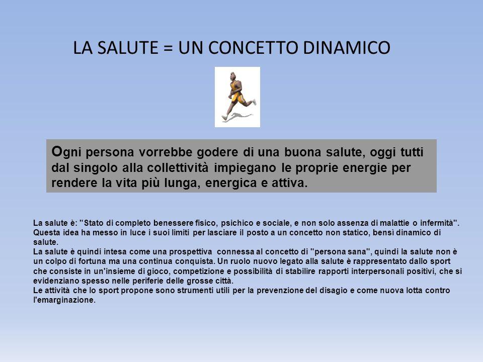 LA SALUTE = UN CONCETTO DINAMICO O gni persona vorrebbe godere di una buona salute, oggi tutti dal singolo alla collettività impiegano le proprie ener