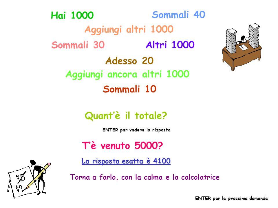Hai 1000 Sommali 40 Aggiungi altri 1000 Sommali 30 Altri 1000 Adesso 20 Aggiungi ancora altri 1000 Sommali 10 Quantè il totale.