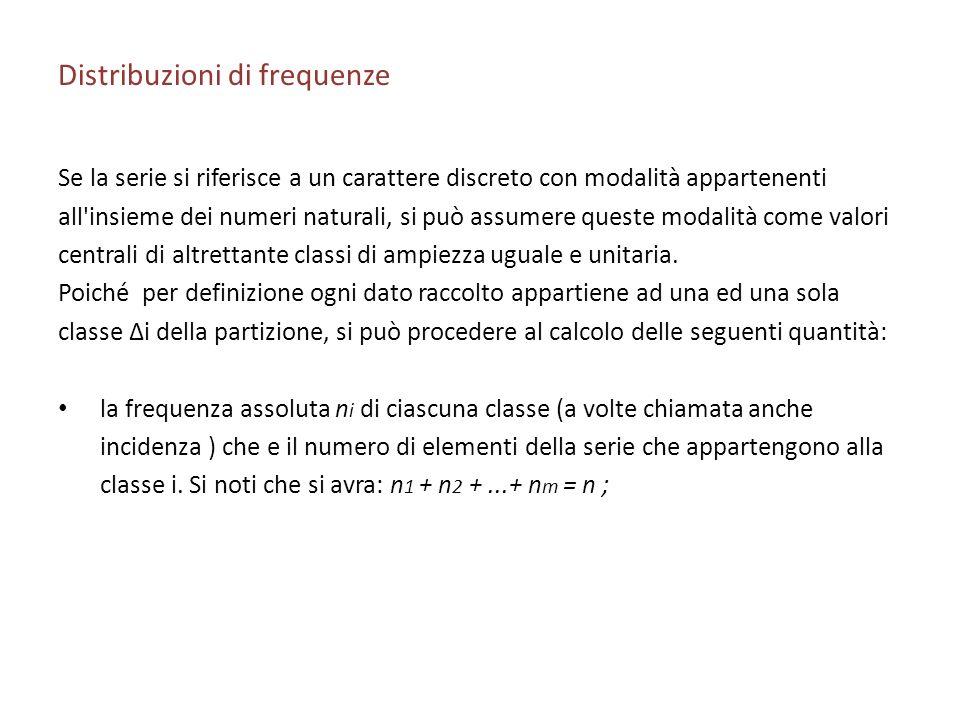 Distribuzioni di frequenze Se la serie si riferisce a un carattere discreto con modalità appartenenti all insieme dei numeri naturali, si può assumere queste modalità come valori centrali di altrettante classi di ampiezza uguale e unitaria.