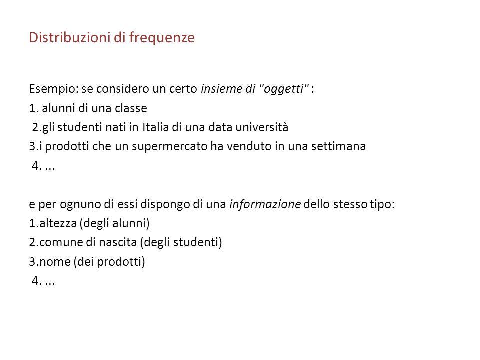 Distribuzioni di frequenze Esempio: se considero un certo insieme di oggetti : 1.