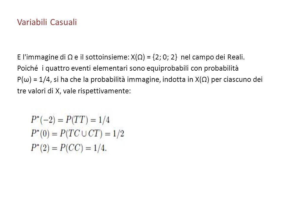 Variabili Casuali E l'immagine di Ω e il sottoinsieme: X(Ω) = {2; 0; 2} nel campo dei Reali. Poiché i quattro eventi elementari sono equiprobabili con
