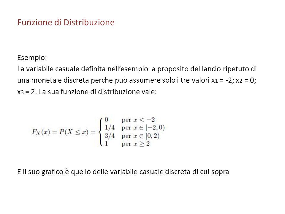 Funzione di Distribuzione Esempio: La variabile casuale definita nellesempio a proposito del lancio ripetuto di una moneta e discreta perche può assumere solo i tre valori x 1 = -2; x 2 = 0; x 3 = 2.