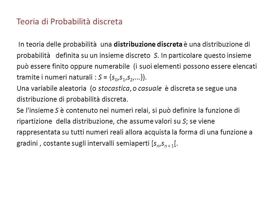 Teoria di Probabilità discreta In teoria delle probabilità una distribuzione discreta è una distribuzione di probabilità definita su un insieme discreto S.