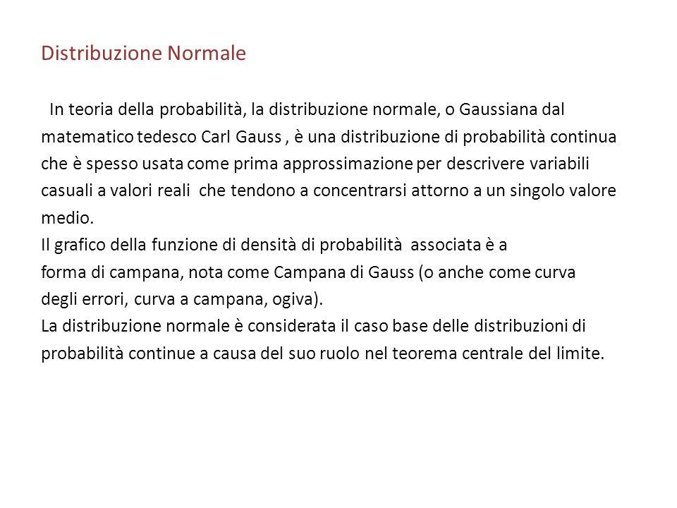 Distribuzione Normale In teoria della probabilità, la distribuzione normale, o Gaussiana dal matematico tedesco Carl Gauss, è una distribuzione di probabilità continua che è spesso usata come prima approssimazione per descrivere variabili casuali a valori reali che tendono a concentrarsi attorno a un singolo valore medio.