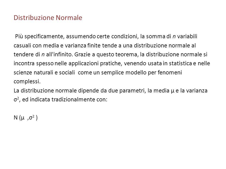 Distribuzione Normale Più specificamente, assumendo certe condizioni, la somma di n variabili casuali con media e varianza finite tende a una distribuzione normale al tendere di n all infinito.
