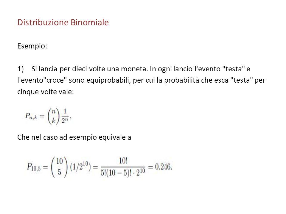 Distribuzione Binomiale Esempio: 1)Si lancia per dieci volte una moneta.