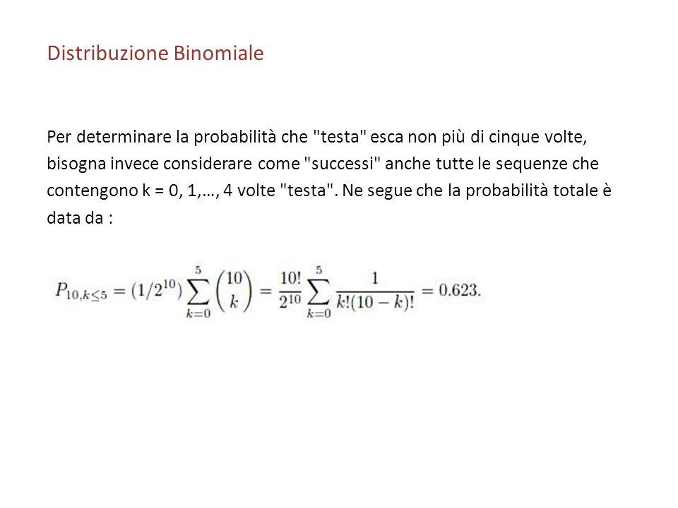 Distribuzione Binomiale Per determinare la probabilità che testa esca non più di cinque volte, bisogna invece considerare come successi anche tutte le sequenze che contengono k = 0, 1,…, 4 volte testa .