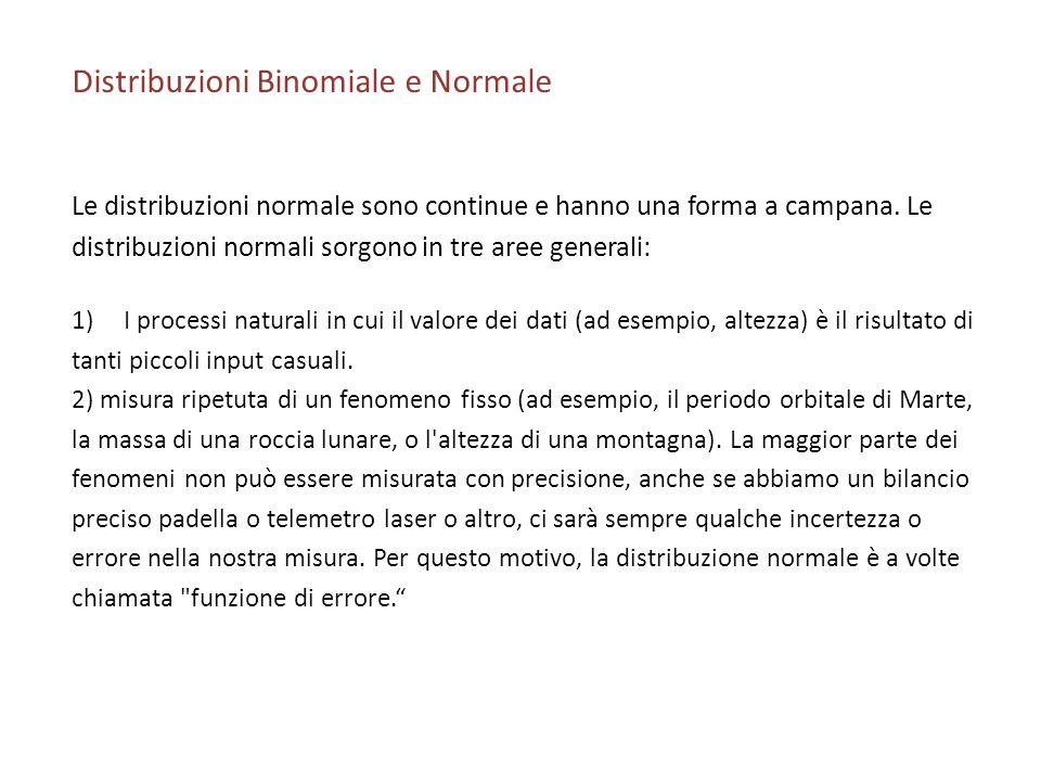 Distribuzioni Binomiale e Normale Le distribuzioni normale sono continue e hanno una forma a campana. Le distribuzioni normali sorgono in tre aree gen