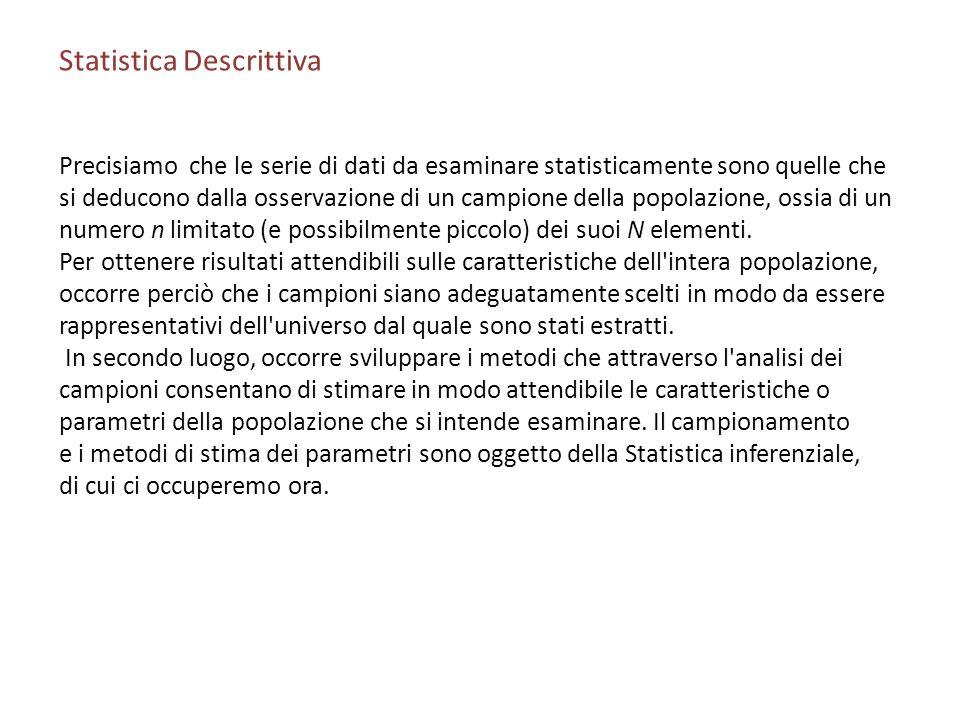 Statistica Descrittiva Precisiamo che le serie di dati da esaminare statisticamente sono quelle che si deducono dalla osservazione di un campione della popolazione, ossia di un numero n limitato (e possibilmente piccolo) dei suoi N elementi.