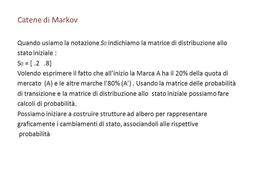 Catene di Markov Quando usiamo la notazione S 0 indichiamo la matrice di distribuzione allo stato iniziale : S 0 = [.2.8] Volendo esprimere il fatto che allinizio la Marca A ha il 20% della quota di mercato (A) e le altre marche l80% (A).