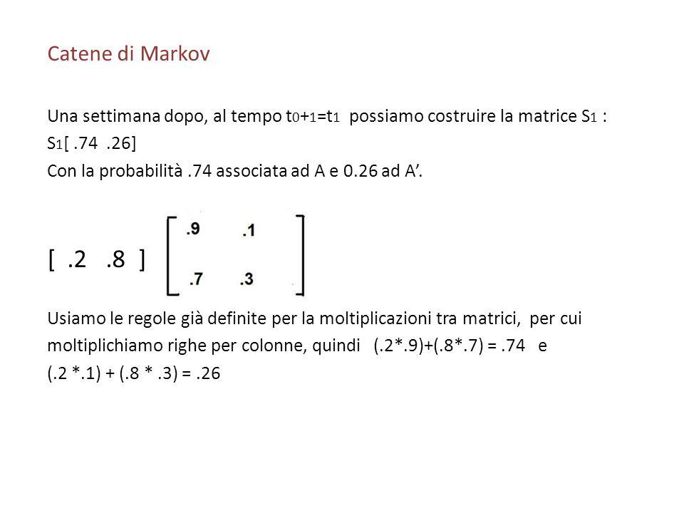 Catene di Markov Una settimana dopo, al tempo t 0 + 1 =t 1 possiamo costruire la matrice S 1 : S 1 [.74.26] Con la probabilità.74 associata ad A e 0.2