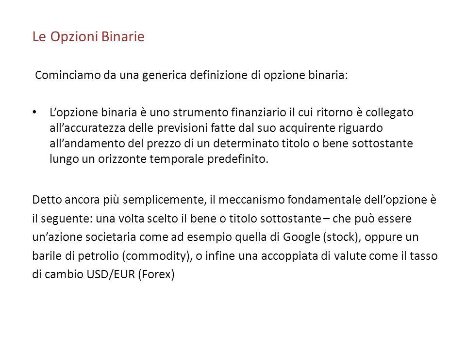 Le Opzioni Binarie Cominciamo da una generica definizione di opzione binaria: Lopzione binaria è uno strumento finanziario il cui ritorno è collegato