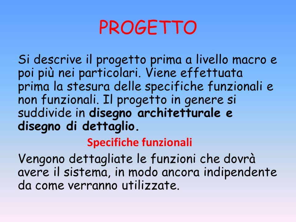 PROGETTO Si descrive il progetto prima a livello macro e poi più nei particolari. Viene effettuata prima la stesura delle specifiche funzionali e non