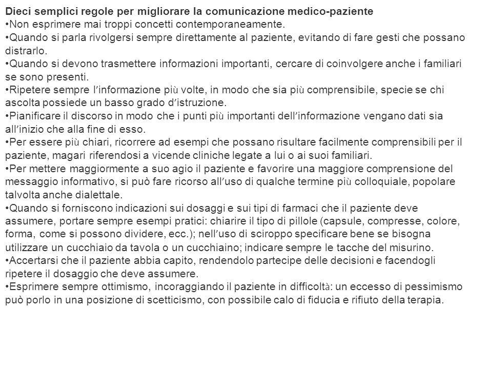 Dieci semplici regole per migliorare la comunicazione medico-paziente Non esprimere mai troppi concetti contemporaneamente. Quando si parla rivolgersi
