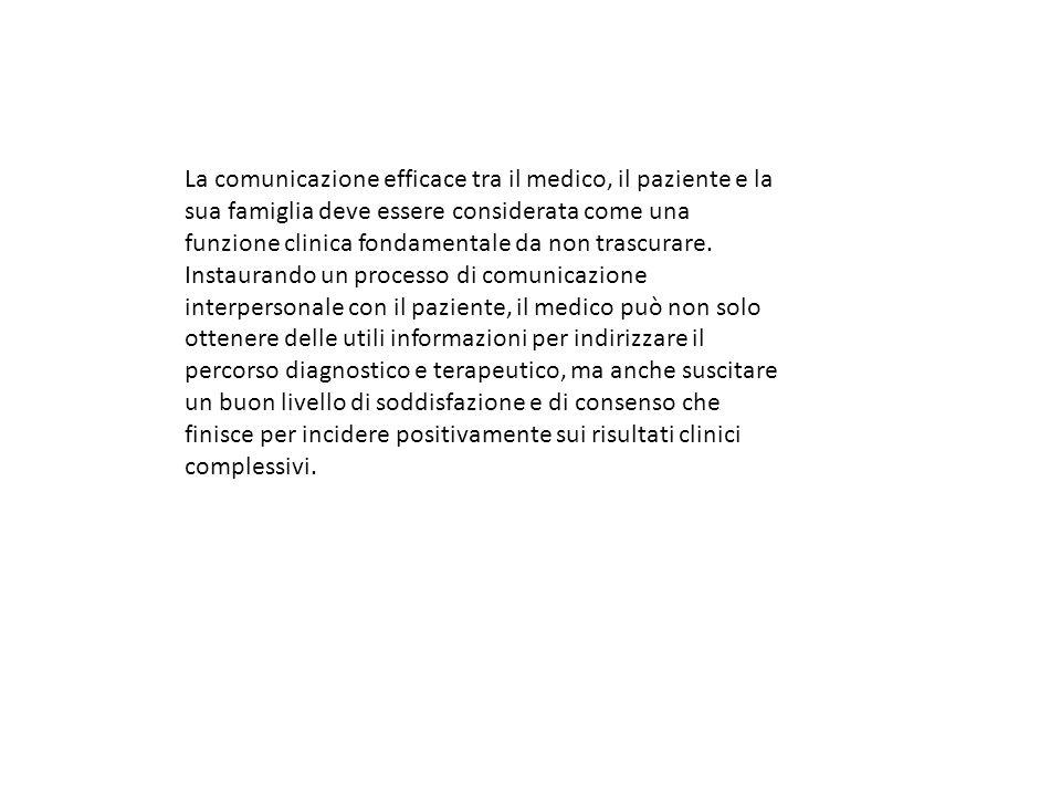 La comunicazione efficace tra il medico, il paziente e la sua famiglia deve essere considerata come una funzione clinica fondamentale da non trascurar