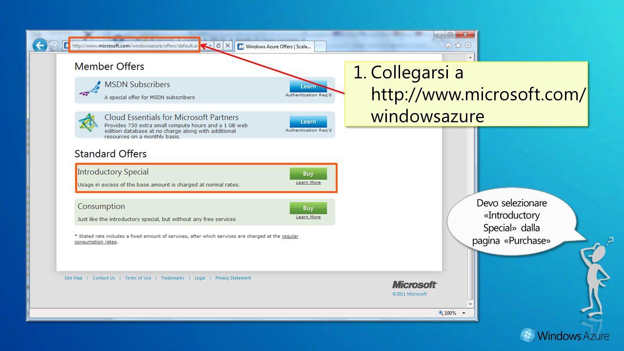 1.Collegarsi a http://www.microsoft.com/ windowsazure