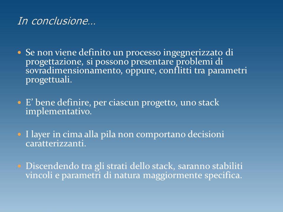 Se non viene definito un processo ingegnerizzato di progettazione, si possono presentare problemi di sovradimensionamento, oppure, conflitti tra parametri progettuali.