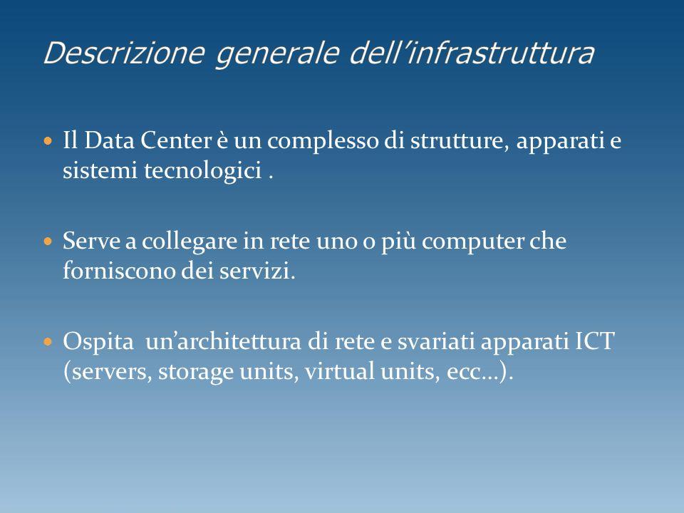 Il Data Center è un complesso di strutture, apparati e sistemi tecnologici. Serve a collegare in rete uno o più computer che forniscono dei servizi. O