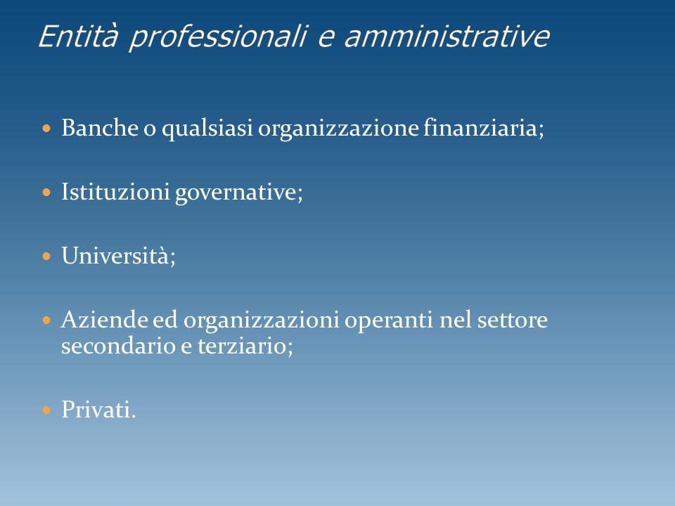 Banche o qualsiasi organizzazione finanziaria; Istituzioni governative; Università; Aziende ed organizzazioni operanti nel settore secondario e terzia