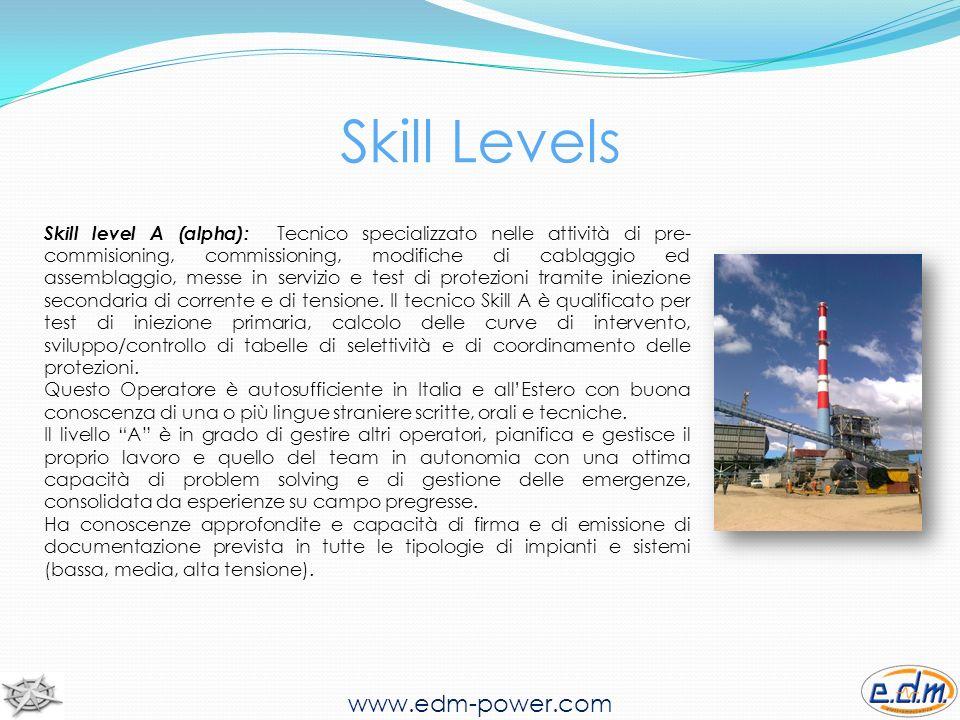 www.edm-power.com Skill level B (bravo): Tecnico specializzato nelle attività di pre-commisioning, modifiche di cablaggio ed assemblaggio, test di cassetti elettromeccanici e test di protezioni tramite iniezione secondaria di corrente e di tensione.